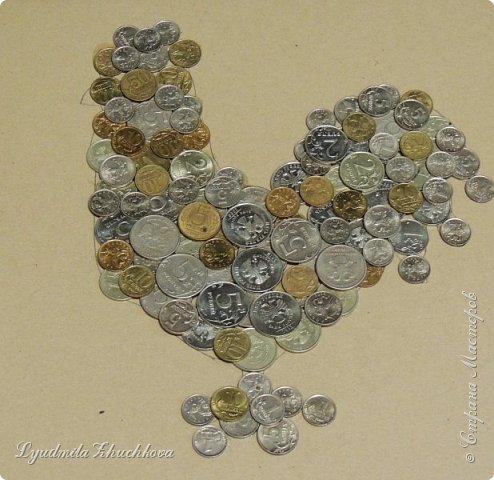 На конкурс я решил изготовить петушка, используя монетки. фото 4