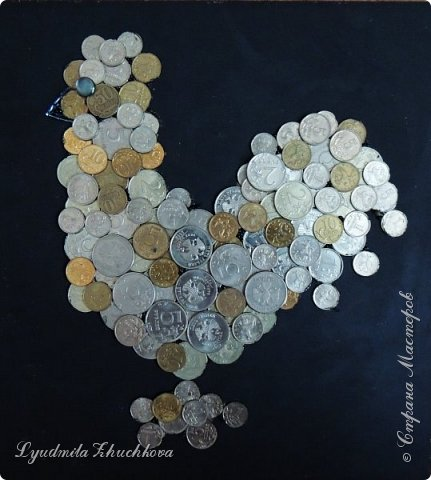 На конкурс я решил изготовить петушка, используя монетки. фото 9