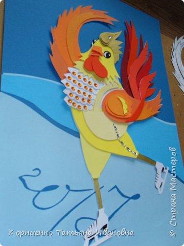 """Пётр Огневович просится в теле-программу """"Танцы на льду"""". Захотелось сделать петушка похожего на пламя свечи. раз уж он огненный в этом году. фото 11"""