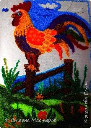 """Добрый день мастера и мастерицы! Представляю свою конкурсную работу, которую я решила выполнить в технике """"ковровая вышивка"""". Техника ковровой вышивки (или ручной набивки) очень легка в исполнении, а выполненные изделия выглядят очень эффектно и способны украсить любой дом. Мое панно со сказочным петушком будет украшать комнату моей любимой внученьки (ей 2 годика). фото 9"""