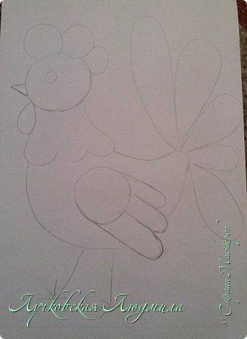 Создала портрет петушка из бумажных сердечек.  фото 3