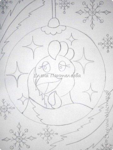 Предлагаю нарисовать новогодний портрет символа 2017 года- петуха. фото 11