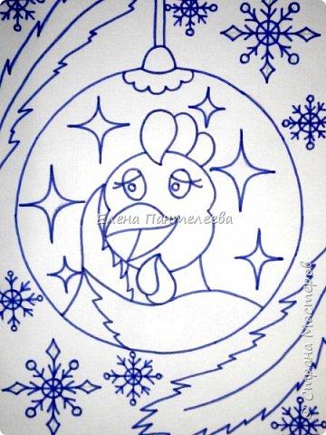 Предлагаю нарисовать новогодний портрет символа 2017 года- петуха. фото 12