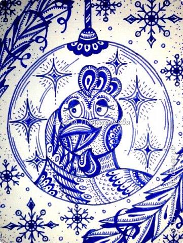 Предлагаю нарисовать новогодний портрет символа 2017 года- петуха. фото 13