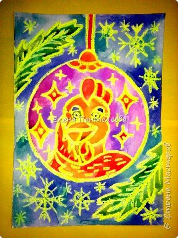 Предлагаю нарисовать новогодний портрет символа 2017 года- петуха. фото 15