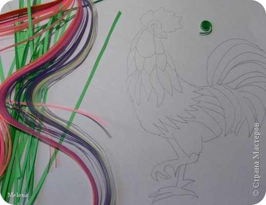 """Петушок"" в технике квиллинга.  фото 4"