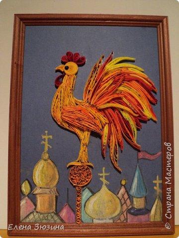 Для своей работы Алина выбрала сказку Александра Сергеевича Пушкина и изобразила волшебного золотого петушка. фото 1
