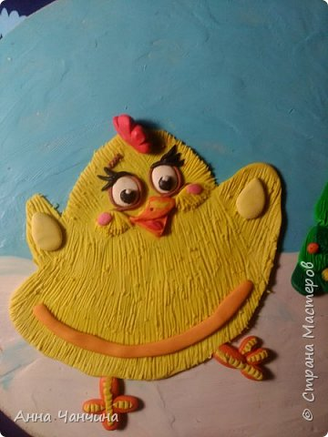 Вот такого новогоднего цыпленка предлагаем вам слепить. фото 19