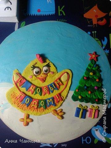 Вот такого новогоднего цыпленка предлагаем вам слепить. фото 22