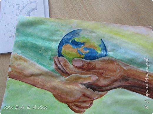 """Здравствуйте мастера и мастерицы  замечательной СТРАНЫ МАСТЕРОВ.  Конкурс называется """" Дети планеты"""". Так давайте сохраним нашу Землю, не дадим ей погибнуть , чтобы передать ее в ценности и сохранности детям!  фото 12"""