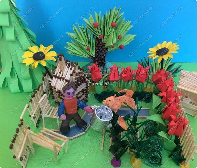 Арсений сделал упрощенный макет своего садового участка, где он проводит время в летние каникулы. фото 1