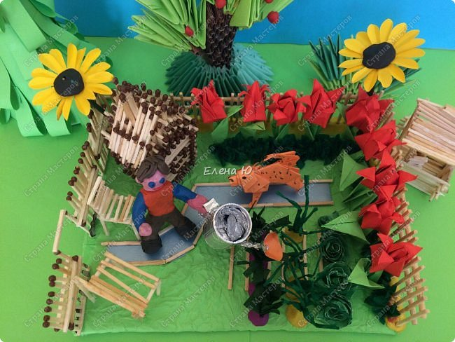Арсений сделал упрощенный макет своего садового участка, где он проводит время в летние каникулы. фото 3