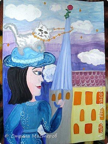 Я решила нарисовать героиню книги Мэри Поппинс, так как она меня поразила. Она может многое, что другим и не снилось: летать на зонтике, появляться неожиданно и так же исчезать, воспитывать детей строго и непринуждённо. Эта книга захватила меня в самом начале прочтения, несмотря на то, что читать я не очень люблю. Книга написана английской писательницей Памелой Трэверс , символ Англии-это красная роза, её я изобразила на зонтике. фото 5