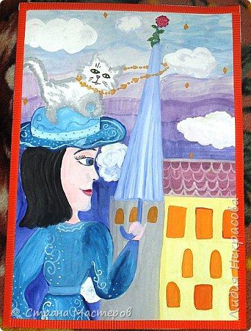 Я решила нарисовать героиню книги Мэри Поппинс, так как она меня поразила. Она может многое, что другим и не снилось: летать на зонтике, появляться неожиданно и так же исчезать, воспитывать детей строго и непринуждённо. Эта книга захватила меня в самом начале прочтения, несмотря на то, что читать я не очень люблю. Книга написана английской писательницей Памелой Трэверс , символ Англии-это красная роза, её я изобразила на зонтике. фото 1