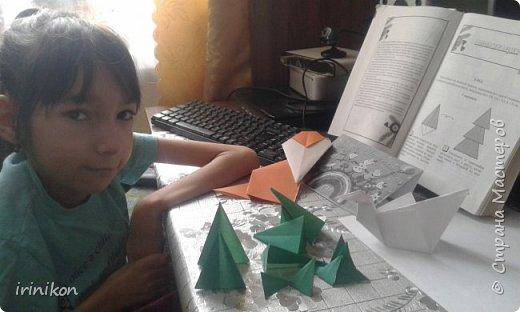"""Решили с  Настей иллюстрировать сказку """"Серая шейка"""" в технике оригами.  фото 6"""
