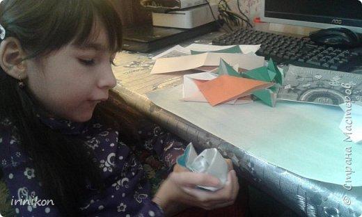 """Решили с  Настей иллюстрировать сказку """"Серая шейка"""" в технике оригами.  фото 7"""