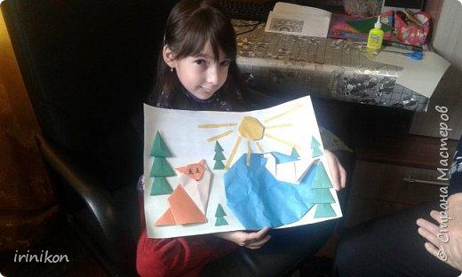 """Решили с  Настей иллюстрировать сказку """"Серая шейка"""" в технике оригами.  фото 2"""