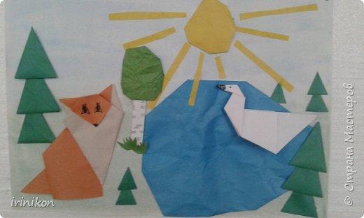 """Решили с  Настей иллюстрировать сказку """"Серая шейка"""" в технике оригами.  фото 1"""