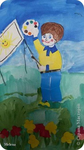 """Моё увлечение - это рисование. Выбрал номинацию """"Спорт, отдых, увлечения"""". На рисунке изображу голубое небо, ласковое солнышко и красивые цветы. Художник в центре - это я! фото 7"""