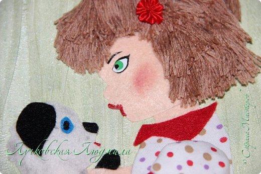 """Какая интересная тема для работы! Я сделала панно """"Дружба"""" с девочкой и собачкой.  Вдохновила меня моя доченька Софочка и ее щенок Тошка.  фото 8"""