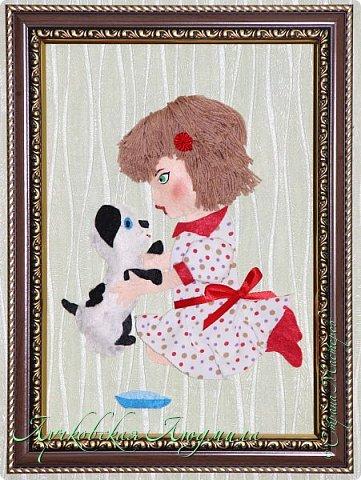 """Какая интересная тема для работы! Я сделала панно """"Дружба"""" с девочкой и собачкой.  Вдохновила меня моя доченька Софочка и ее щенок Тошка.  фото 1"""