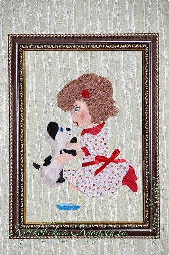 """Какая интересная тема для работы! Я сделала панно """"Дружба"""" с девочкой и собачкой.  Вдохновила меня моя доченька Софочка и ее щенок Тошка.  фото 9"""