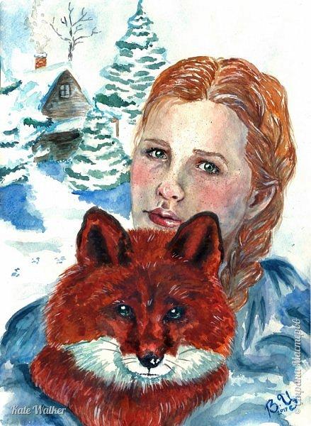 """""""В нас всех есть что-то лисье."""" (Николай Здекауер)  В детстве я очень любила русские народные сказки, в которых одним из героев была Лиса (Колобок; Волк и Лиса; Лиса и журавль; Лиса и кот; Кот, Петух и Лиса; Лиса, заяц и петух и др.). Позже я узнала, что Лиса встречается в фольклоре практически всех стран мира. Например, в японской мифологии Лиса - Кицунэ - близка к демоническим силам и способна превращаться в человека. Кицунэ обычно принимает облик обольстительной красавицы, симпатичной молодой девушки. В русских народных сказках Лиса всегда оставалась животным, хотя и представляла такие человеческие качества как ловкость, смышленость, хитрость, даже наглость. В отличие от стран Европы наша Лиса всегда ассоциировалась с женским образом. А, например, во французском фольклоре есть персонаж - лис Ренар. Я решила представить, как бы выглядела наша, русская, Рыжая, если бы умела становиться человеком, как японская кицунэ. Символом страны - России - я сделала деревянную избу. Эта постройка не только характерна для сельской местности Руси, но и часто встречается в сказках про Лису. У иностранцев Россия ассоциируется с холодом и снежными сугробами. Морозный день я """"подчеркнула"""" инеем на волосах и ресницах девушки, а так же пушистой шубкой у Лисы. фото 1"""