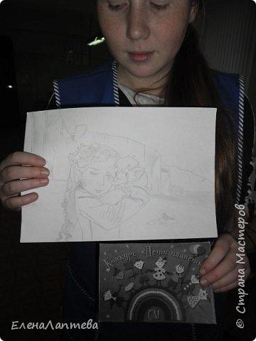 Прочитав описание конкурса, мы решили поучаствовать и в этой номинации. Идеей этой работы послужила зарисовка моей ученицы, на которой были изображены мамонтёнок и сама автор рисунка.  Как оказалось, Розе очень нравится сам образ игрушки, который искал свою маму. фото 3