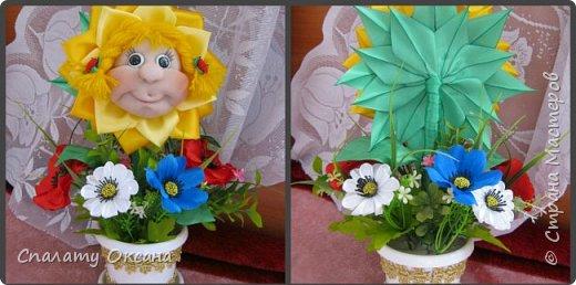 Добрый день! Очень нам с дочкой нравятся подсолнухи, но решили сделать не просто цветок, а с детским личиком. Подсолнухи… Как маленький ребёнок В простых явлениях видит чудо сказки… И радостно, что поутру, спросонок Всем улыбаются распахнутые глазки… фото 9