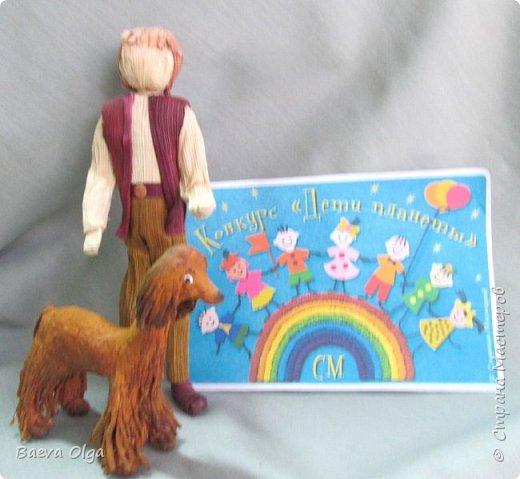 """Композиция """"Мой лучший друг""""изготовлена изразличных материалов; фигурка ребёнка из материала талаш, фигурка собаки из салфеток в технике папье -маше. фото 6"""