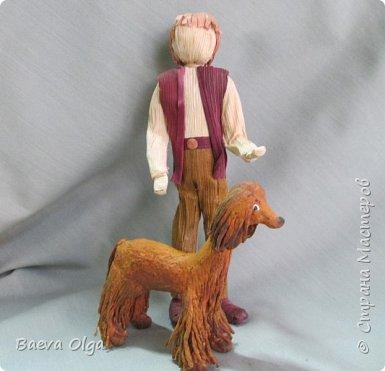 """Композиция """"Мой лучший друг""""изготовлена изразличных материалов; фигурка ребёнка из материала талаш, фигурка собаки из салфеток в технике папье -маше. фото 1"""