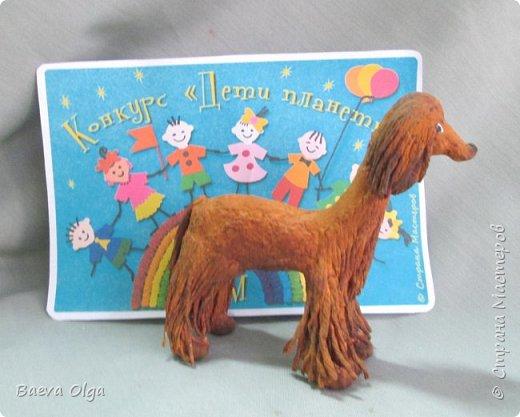 """Композиция """"Мой лучший друг""""изготовлена изразличных материалов; фигурка ребёнка из материала талаш, фигурка собаки из салфеток в технике папье -маше. фото 5"""