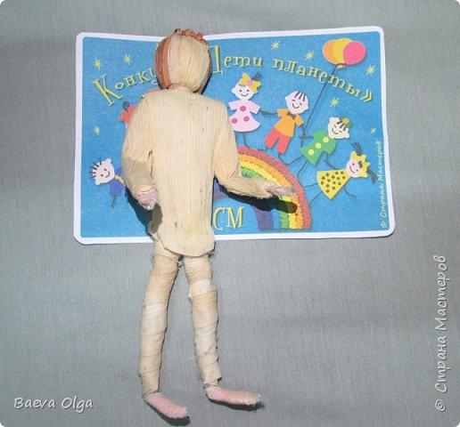 """Композиция """"Мой лучший друг""""изготовлена изразличных материалов; фигурка ребёнка из материала талаш, фигурка собаки из салфеток в технике папье -маше. фото 4"""