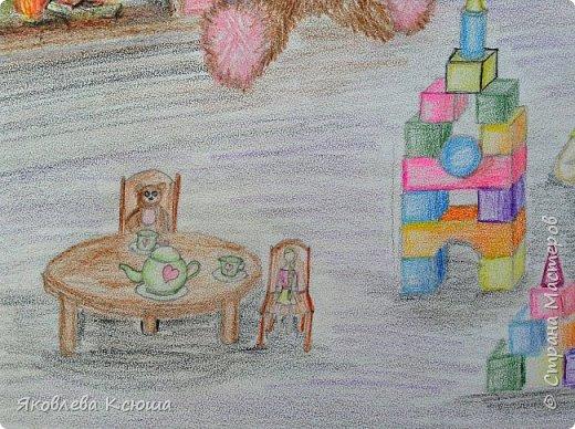 Здравствуйте!  Я с большим удовольствием принимаю участие в конкурсе.  Мне скоро исполнится 10 лет, но до сих пор люблю играть в игрушки. Моими любимцами являются мягкие мишки, поэтому нарисовала их повсюду. Приглашаю к просмотру. фото 4