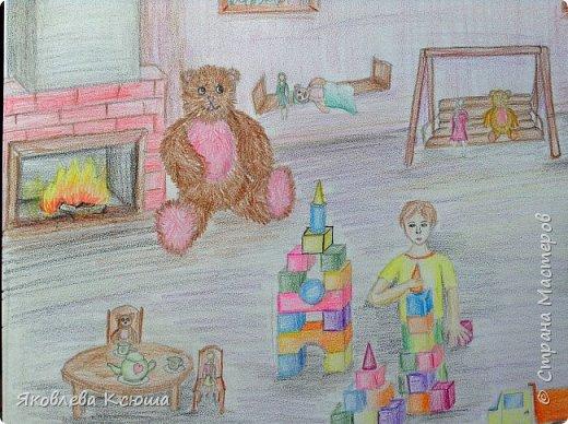Здравствуйте!  Я с большим удовольствием принимаю участие в конкурсе.  Мне скоро исполнится 10 лет, но до сих пор люблю играть в игрушки. Моими любимцами являются мягкие мишки, поэтому нарисовала их повсюду. Приглашаю к просмотру. фото 8