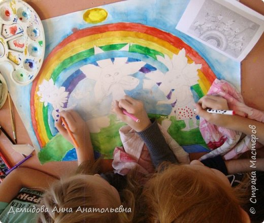"""Здравствуйте мастера и мастерицы! Решила со своими ученицами принять участие в этом замечательном конкурсе """"Дети планеты"""", в номинации """"Зеленая планета"""". Волнительно было осознавать,что от того как преподнесу детям, что такое экология и экологический образ жизни возможно зависит судьба планеты.Ведь каждый человек, пусть даже пока маленький человечек - это частица живой природы. Понимать это - значит жить в согласии со окружающем миром и радоваться его красотой. Внимание в этом году перешло к экологии, конечно мало года к этой настолько острой проблеме. Ведь очень важно не только остановить и сохранить, но и приумножить по возможности природные ресурсы. Работа представляет собой часть зеленой планеты с морями и океанами, на ней дети - цветы жизни ухаживают за природой, а над ними мирное небо в лучиках солнца и радуги. В своей творческой работе девочки изобразили самих себя. Катя запечатлела себя высаживающую молодое деревце, а Полина помогает ей в этом. Настя в образовательной школе ежегодно участвует в конкурсе """"Каждой пичужке по кормушке"""", и без сомнений представила себя в этой роли. фото 5"""