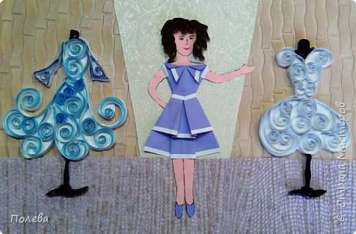 """Даша занимается в театре моды """"Колибри"""" и решила своей работой рассказать о своём увлечении. Работа выполнена из бумаги в смешанной технике. фото 5"""