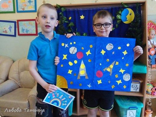 Космос - это загадочный мир звезд, планет, астероидов и других объектов. Каждый мальчишка мечтает полететь в космос. Вот и наших мальчишек привлекает сияние звезд. Они очень мечтают полететь в космос. И думают, что в будущем не только взрослые, но и дети будут путешествовать по космическим просторам.  фото 5