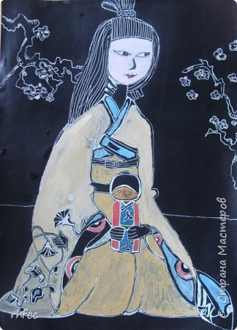 Девочка в японской одежде с Дарума фото 1