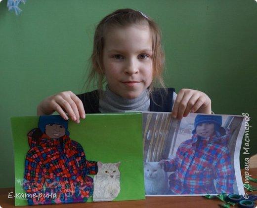 """Здравствуйте, уважаемые жители Страны Мастеров! Еще одна работа моей ученицы. Вероника учится в 3 классе и тоже сразу выбрала номинацию """"Животные и дети"""". Вместе с подружкой решила делать работу по своей фотографии. фото 9"""