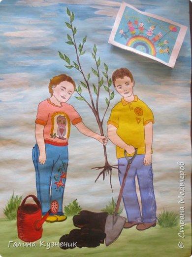 """""""Посади дерево!""""- так называется наша работа. Существует проблема: вырубка лесов. Она серьёзная и может иметь ещё более серьёзные последствия, тяжёлые для будущих поколений. Если мы останемся равнодушными и бездеятельными, то нашим потомкам достанется пустошь вместо цветущей и зеленой планеты. Этим плакатом мы призываем всех окружающих к участию в посадке лесов.   фото 6"""