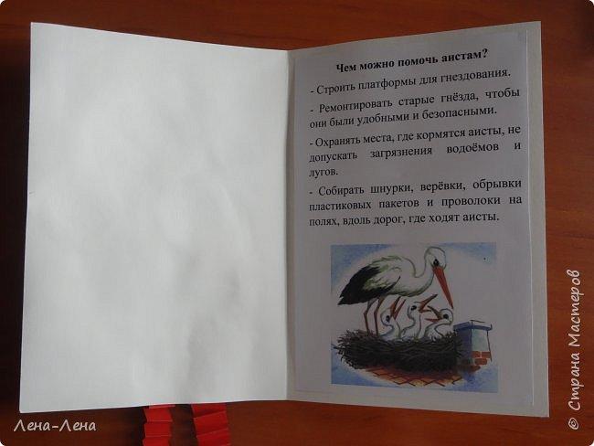 """Наш класс очень любит птиц. Мы проводим много мероприятий, связанных именно с птицами, придумываем свои """"птичьи"""" праздники, пишем о них стихи и сочинения, рисуем, регулярно изготавливаем кормушки и поддерживаем птиц зимой. В этом году мы всем классом вступили в клуб """"Крылатый дозор"""" при общественной организации «Ахова птушак Бацькаўшчыны», которая организована ради сохранения разнообразия видов и экосистем Беларуси путём привлечения населения к активной охране природы. Когда был объявлен конкурс """"Дети планеты"""" мы однозначно выбрали номинацию """"Зелёная планета"""", ведь наблюдая за птицами, привлекая внимание большего количества людей к их проблемам, мы помогает тем самым сохранить красоту и неповторимость нашей Земли. Для конкурса мы представляем информационный листок """"Поможем аистам"""", ведь им всё труднее находить места для своих больших гнёзд. Эти листки мы изготовили на уроке труда и раздавали  жителям нашего агрогородка - может хоть кто-то прочитав их задумается над существующей проблемой.  Такие агитационные листки готовил каждый ученик нашего класса, а вот для конкурса выбрали самый аккуратный - это работа Дегтярёвой Ангелины. фото 2"""