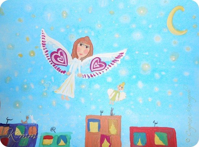 Снежанна мечтает, что в будущем дети научатся летать, чтобы по ночам гулять по звездному небу.... Она нарисовала себя и свою куклу,как им хорошо и радостно летать между яркими звездочками,над разноцветными домами...В окнах горят огни.....они распахнуты и ждут своих хозяев домой,а может приглашают в гости.....По крышам гуляют беспечные коты.....А дети с игрушками летают,летают в мирном небе над миром фото 1
