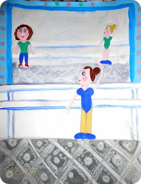 Полина нарисовала самое любимое занятие после рисования - это танцы. Она занимается танцами с шести лет. На рисунке она перед зеркалом у станка. А в зеркале отражается любимый учитель  и подруга. фото 1
