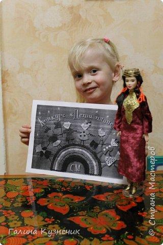 """Наша семья долгое время жила в Туркмении, поэтому когда начался конкурс """"Дети планеты"""" мы решили, что сделаем наряд для куклы. Туркменский женский костюм состоит из штанов балак, платья кёйнек с круглым вырезом, прямого покроя и головного убора (платок для взрослой женщины, тюбитейка для не замужней девушки). фото 7"""