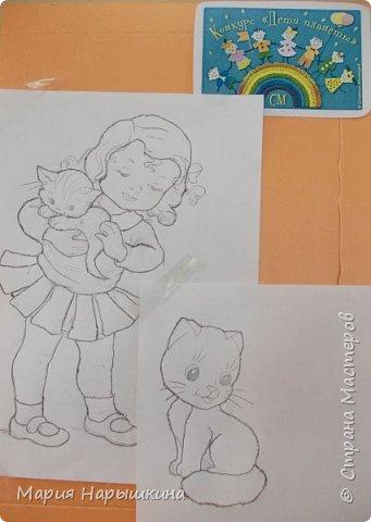 Представляем на конкурс работу Нарышкиной Екатерины в технике кинусайга. Кате 8 лет, учится она в первом классе. Катя очень любит разных животных. Дома у нее живут хомячки и рыбки, а еще Катя мечтает о котенке. Вот и решила она рассказать о своей мечте - сделать картину с кошкой и котенком. фото 2