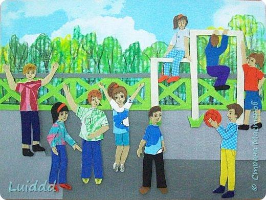 """Добрый день жители Страны Мастеров. Хочу представить вашему вниманию третью работу на тему советского детства, которая называется """" На спортивной площадке"""". фото 1"""