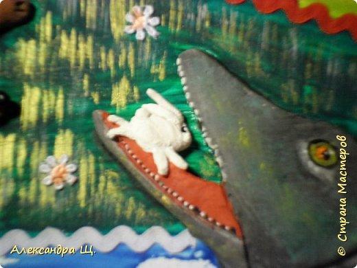 """Работа моей ученицы по сказке нашего замечательного земляка, Степана Писахова. Любимая сказка Лены про собаку Розку, видимо потому,что у Лены есть собака, большая, охотничья, но не настолько """"ученая"""" как Розка)), которая ходила - ходила с хозяином на охоту ,да и научилась сама охотиться, особливо за зайцами.  фото 6"""