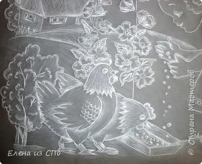 """Работу выполняли ученицы 7 класса Яковенко Лада и  Байкеева Милена . Лада свое дошкольное детство провела у бабушки в Украине, поэтому в работе просматриваются элементы южной природы.Как говорит сам автор:""""Это было замечательное,счастливое и беззаботное время"""". Бабушка часто по утрам звала помочь """"в работе """" по кормлению домашних птиц. Это было увлекательное дело для девочки и труд для бабушки. фото 6"""