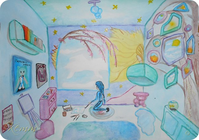 Карина мечтает о своей комнате,где все будет так, как нравится ей. Мебель округлых форм,мягкая,уютная и легкая. Голубые,розовые и фиолетовые тона,которые она так любит за схожесть с цветами неба. Небо она любит рисовать чаще всего. Ведь оно такое необыкновенно-легкое, необъятное,красивое и каждый раз неповторимое...  фото 1